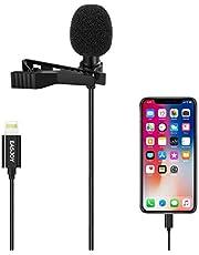 Mikrofon för iPhone, Lavalier Lapel clip on Shirt Microphone Omnidirectional Sound Video Recording mic for iPhone X Xr Xs Max 11 Pro 8 8plus 7 7plus 6 6Plus, iPad (1,5 m)