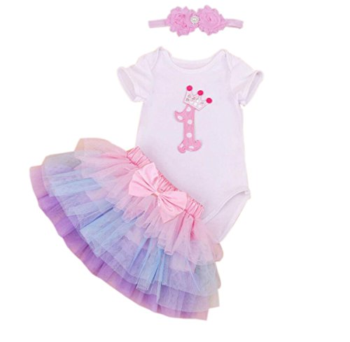 Marlegard Baby Girls' 3PCs Pink 1st Birthday Romper Tutu Skirt Headband Outfits (18M(12-18months), Pink Purple) ()