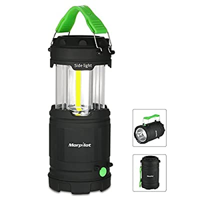 LED Camping Lantern,Morpilot Outdoor Portable COB Light Battery Powered with Fluorescent Handles for Hiking, Emergencies, Hurricanes, Outages, Storms