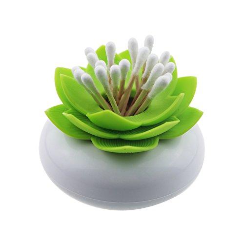 Gracallet Green Lotus Cotton Swab Holder, Small Q-Tips Toothpicks Storage Organizer