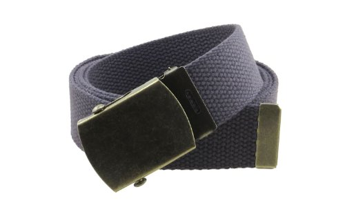 Canvas Web Belt Military Style with Antique Brass Buckle and Tip 50
