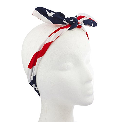 Lux Accessories American Fourth Of July American Flag Bow Headwrap Headband (4th Of July Hair Accessories)