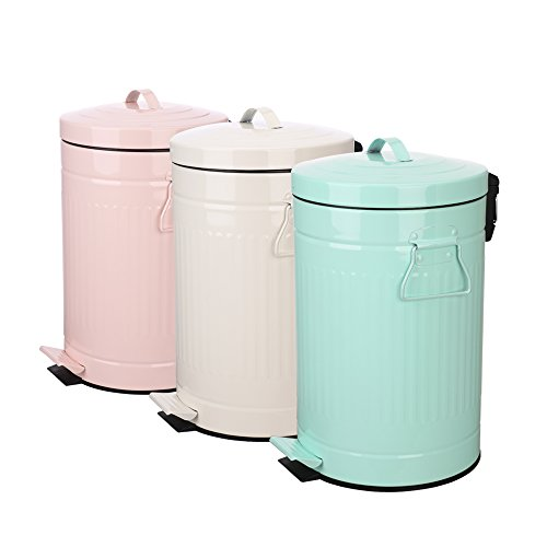 Kitchen Trash Can with Lid, Pink Bathroom Garbage Can, Round Waste Bin Soft Close, Retro Vintage Metal Garbage Bin For Office Foot Pedal Step, 12 Liter/3 Gallon, Glossy Pink by mingol (Image #6)
