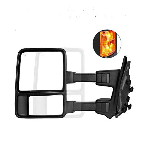 [Fengo] 1 PC of Premium Black Housing Heavy Duty Left Driver Side Tow Mirror for Ford 2008-2016 F250 F350 Super Duty - Amber LED Turn Signal + Power Adjustment + Heated + Extendable