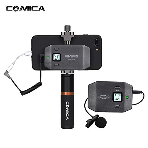 - Lepeuxi COMICA CVM-WS50(B) 6-Channel UHF Wireless Smartphone Lavalier Microphone System 197ft Range with Phone Holder + Grip + Carry Bag for iPhone Samsung Huawei Video Vlogging