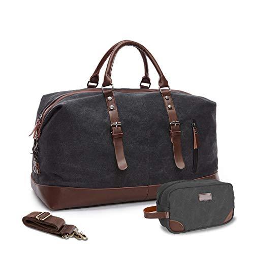 (WEEN CHARM Canvas Overnight Bag Travel Duffel Leather Trim Travel Tote Duffel Shoulder Handbag Weekend Bag)