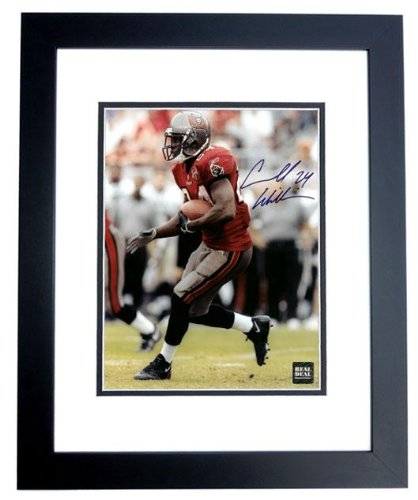 Autographed Cadillac Williams Photo - with Red Jersey Inscription - PSA/DNA Certified - Autographed NFL Photos - Cadillac Williams Autographed Photo