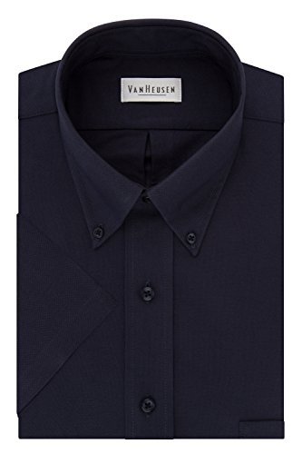 Van Heusen Men's Short Sleeve Oxford Dress Shirt, Navy, Medium