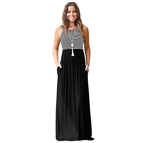 - BigButer Women Casual Sleeveless Long Maxi Dress Stripe Tunic Pocket Swing Dress