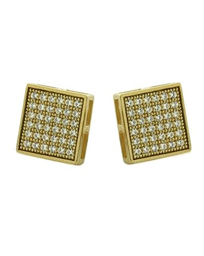 Gold-plated Micro Pave CZ Cubic Zirconia Square Stud Earrings 5mm by iJewelry2