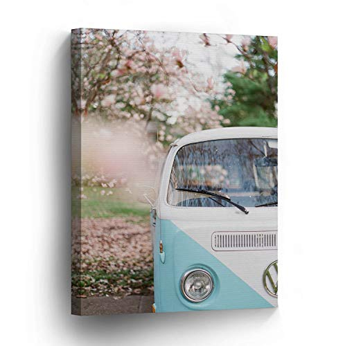 Dwi24isty Canvas Print Volkswagen Van Baby Blue Home Decor Spring Camper Old Vintage Bus Wall Art Gallery Framed Canvas Art Ready to Hang