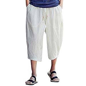 Photno Men's Harem Pants Casual Baggy Cotton Linen Jogger Sports Wide Leg Capri Pant Plus Size