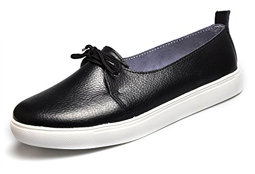 Cunzhai Womens Leather loafers Driving Flats Casual Lace Ups Boat Shoes Slip On Black MAxDvr