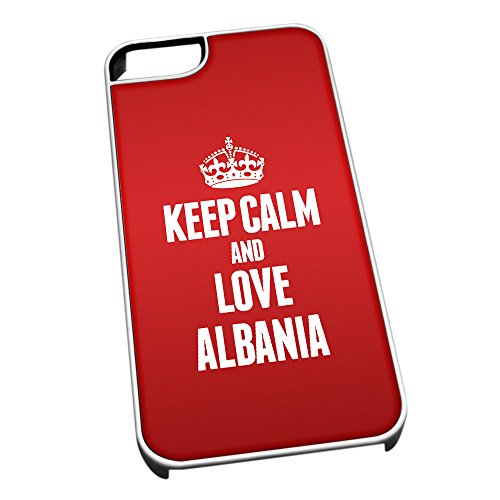 Bianco cover per iPhone 5/5S 2142 Red Keep Calm and Love Albania