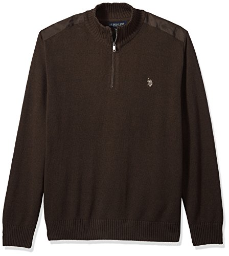 U.S. Polo Assn. Men's Quilted Shoulder 1/4 Neck Sweater, Mocha Heather, Large by U.S. Polo Assn.