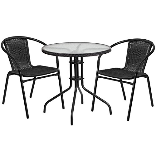 MFO 28'' Round Glass Metal Table with Black Rattan Edging and 2 Black Rattan Stack Chairs