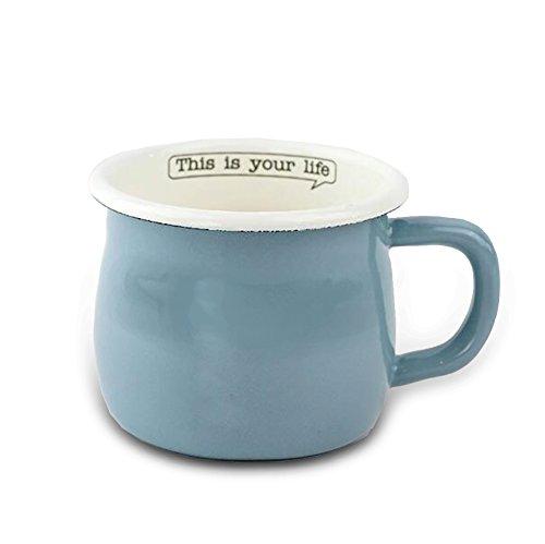 Finex Kitchen Premium Porcelain Enameled Steel Collection - Life Series (Blue) - Coffee Mug Milk Water Tea Cup (Milk Tea Pan)