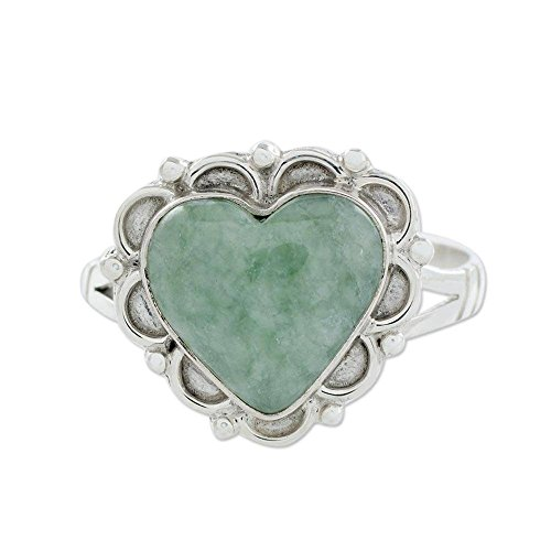 (NOVICA Heart Shaped Jade .925 Sterling Silver Handcrafted Ring, Zinnia Love')