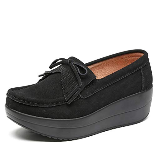 JRenok Women Wedge Platform Loafers Shoes Ladies Elegant Moccasins Female...