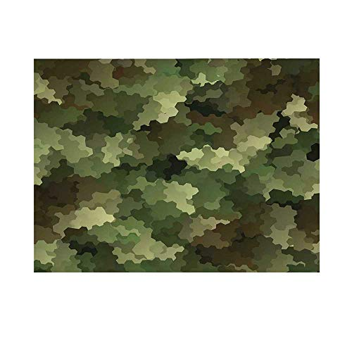 Camo Photography Background,Frosted Glass Effect Hexagonal Abstract Being Invisible Woodland Army Backdrop for Studio,7x5ft