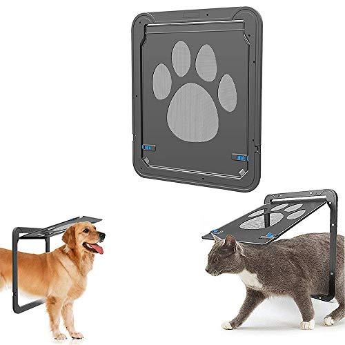 (Pet Screen Door - Pet Window Screen- Magnetic Flap Screen Automatic Lockable Black Door for Small Dog and Cat Gate - Quiet Damping 1416in)