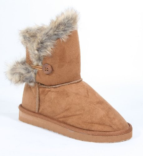 Furry Round Toe Button Ankle Vegan Bootie Chestnut