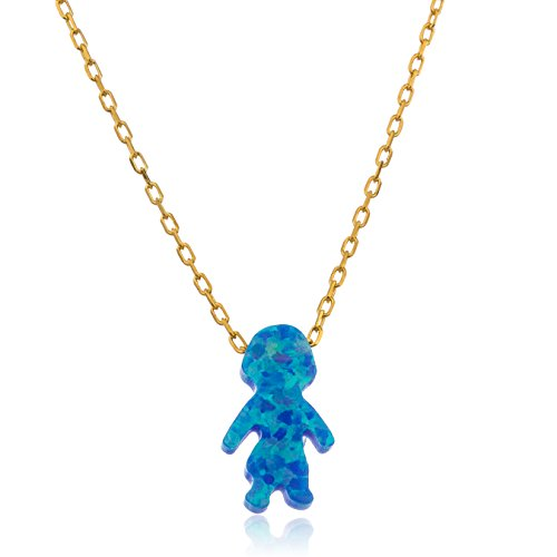 Sterling Silver Goldtone Light Blue Created Opal Girl Pendant with an 18 Inch Link Ne... (I-1917) (Adam & Eve Costume)
