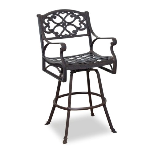 Home Style 5555-89 Biscayne Swivel Outdoor Bar Stool, Rust