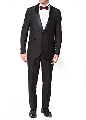 Adam Baker Men's 9-3401 Slim Fit One Button Satin Shawl Collar Tuxedo Suit - Black - 42 Short (Suit Satin Shawl Black Tuxedo)