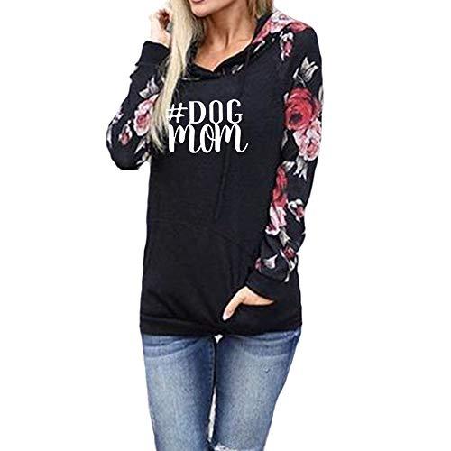- Women's Casual Long Sleeve Love Dog Paw Print Pullover Hoodies Sweatshirts Kangaroo Pocket