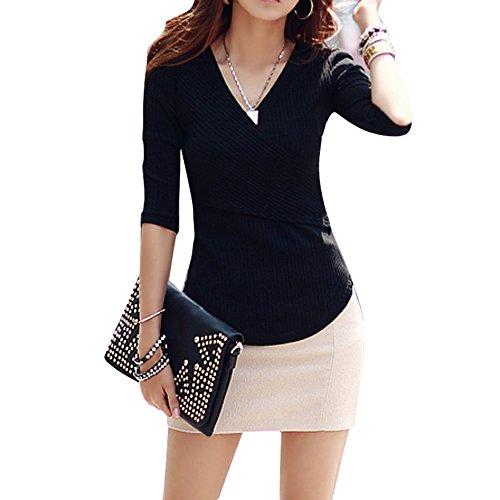 Femme T Longues Manches Tops shirt Tops Casual pour Sfit Noir Automne Slim Pull Printemps wapCt