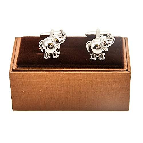 MRCUFF Elephant 3D Pair Cufflinks in a Presentation Gift Box & Polishing Cloth