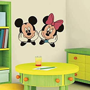 YttBuy Mickey Mouse & Minnie Mouse Vinyl Decal for Wall Peel and Stick Giant Wall Decal Mickey Decals for Nursery Kids Baby Childs Room