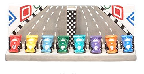- Hand Painted Ceramic Raceway Design Hanukkah Menorah
