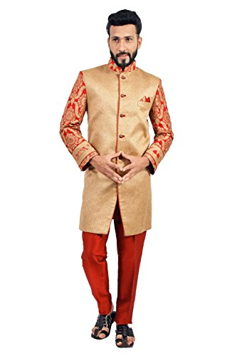 Natural Jute and Maroon Indian Wedding Indo-Western Sherwani for Men by Saris and Things