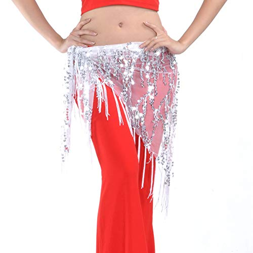 (Women Belly Dance Sequin Triangle Hip Scarf Belly Dancing Belts (White))