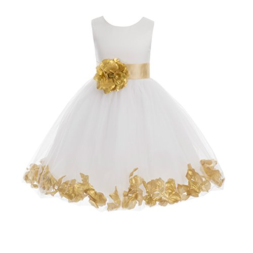 (Wedding Pageant Flower Petals Girl Ivory Dress with Bow Tie Sash 302a 8)