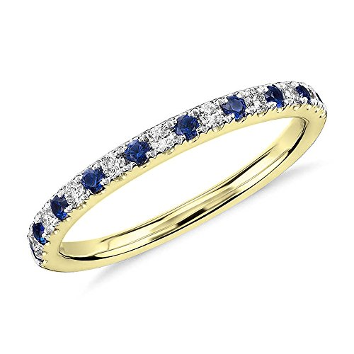 0.60 CT. Round Natural White Diamond & Blue Sapphire Wedding Band 10K Yellow Gold For Women (9ct Gold Setting)