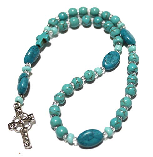 Anglican Rosary of Turquoise Howlite, Celtic Cross