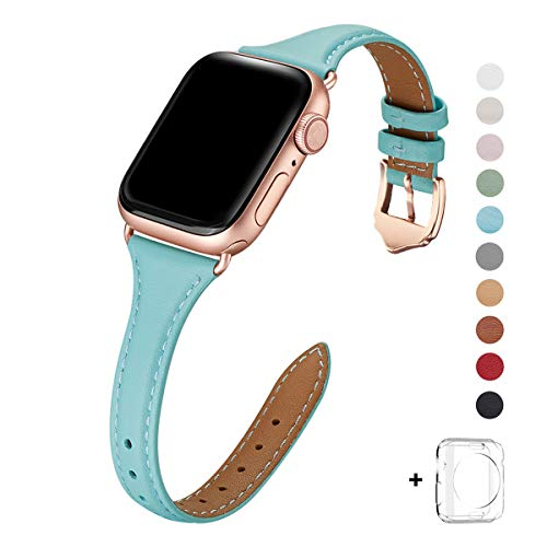 WFEAGL Leather Bands Compatible with Apple Watch 38mm 40mm 42mm 44mm, Top Grain Leather Band Slim & Thin Replacement Wristband for iWatch Series 4/3/2/1 (Tiffany Blue Band+Rose Gold Adapte, 38mm ()