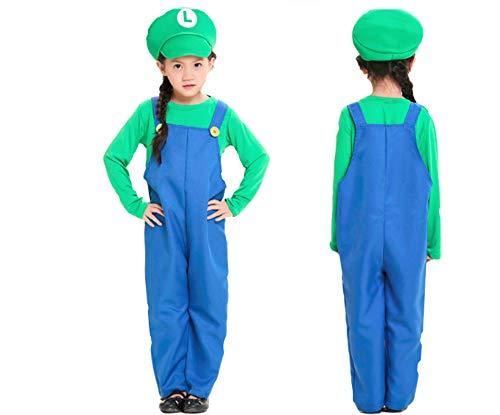 (Mitef Unisex Super Mario Luigi Brothers Cosplay Costume for Child, Green,)