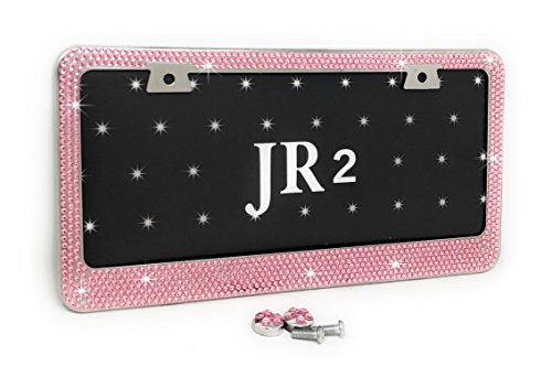 UPDATED JR2 Bling 7 Rows Pink(A- Screw Cap Type) Crystal Rhinestone-Metal Chrome License Plate Frame with Two Caps