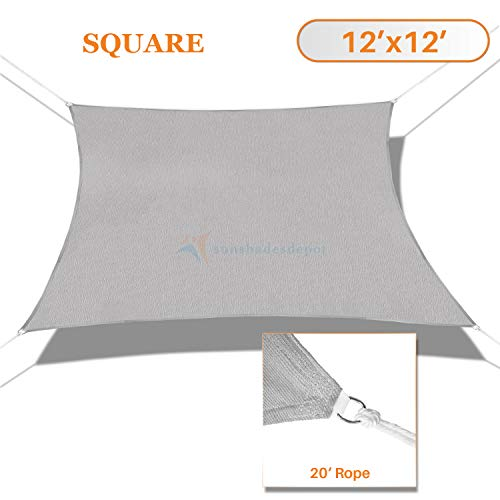 Sunshades Depot 12 x 12 Solid Light Grey Sun Shade Sail Square Permeable Canopy Tan Beige CustomSize Available Commercial Standard
