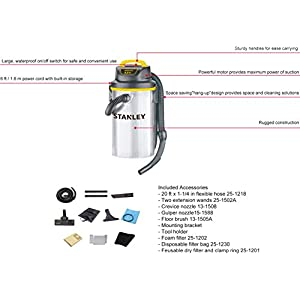Stanley Wet/Dry Hanging Vacuum, 4.5 Gallon, 4 Horsepower, Stainless Steel Tank