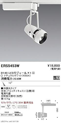 ENDO LEDスポットライト 配線ダクトレール用 セラメタプレミアS35W相当 ナチュラルホワイト4000K 狭角 白 ERS5453W (ランプ付)   B07HQ9NXCJ