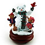 Thread Bears - Frost The Snowman With Little Threadbears Musical Figurine - Over 400 Song Choices - Flash Dance