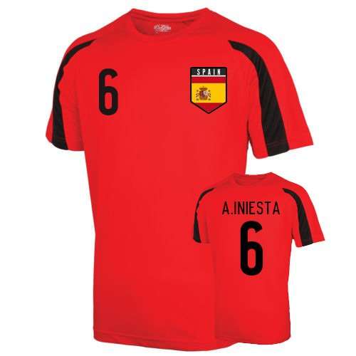 Spain Sports Training Jersey (a.iniesta 6) Kids B01J2XJVICRed XSB (3-4 Years)