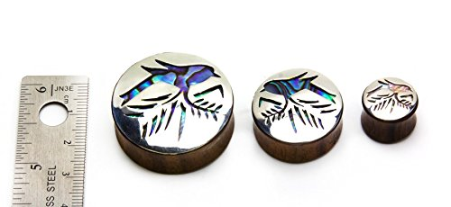 Ear Gauge with Silver Sparrow On Branch Negative Space Art Inlay Elementals Organics Sono Wood Plug for Ear