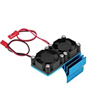 RC Motor Radiator, 540 / 550 Motor Twin Cooling Fan Heat Sink Compatibile with 1/10 Electric RC Car(Blue)