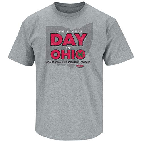(Ohio State Football Fans. It's A New Day in Ohio Gray T-Shirt (Sm-5X) (Short Sleeve, Large) )